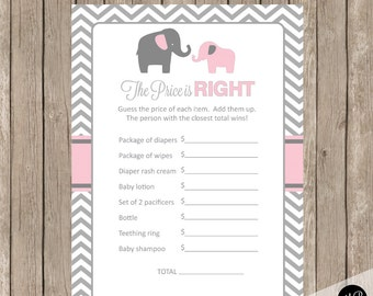 Elephant Baby Shower Game Pink and Gray Baby Shower Game - Price is Right Baby Shower Game, pe1