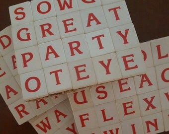 Scrabble Coasters...Rare Tiles...Red Letters on White Tiles...Full Cork Bottoms...Set of 4...FREE SHIPPING