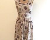 SALE Vintage 1930s 1940s Purple Floral Cotton Pinafore Dress 30s 40s Sundress