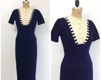 1940s Sweater Knit Dress Set 40s Top Skirt Navy Blue