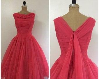 SALE Vintage 1950's Hot Pink Formal Dress 50's Wedding Party Dress