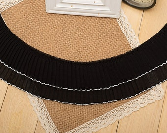 """10 yard 9cm 3.54"""" wide black ruffled fabric tapes lace trim can through 6mm ribbon 118 free ship"""