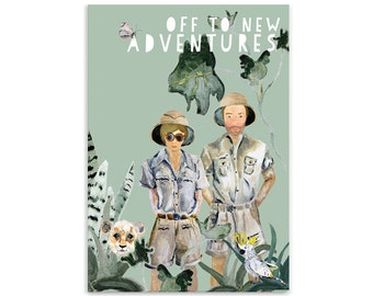 Off to new adventures Wedding card with matching envelope