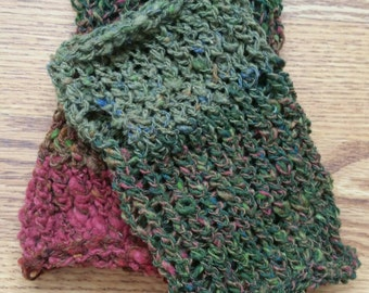 Fingerless Gloves Medium/Large Short OOAK - Wool with Thumb Hole - Handdyed, Handspun and Handknit