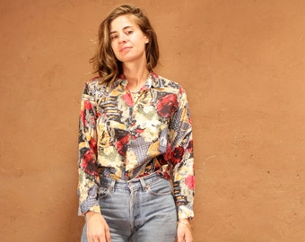 SILK versace style 90s abstract SURF slouchy WILD baroque oversize blouse shirt