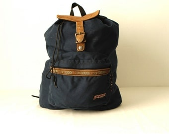 jansport 90s blue LEATHER & canvas RUCKSACK backpack