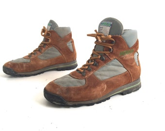 Men's size 9 boho HIKING combat CARAMEL brown leather LACE up combat style boots