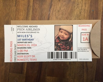 AIRPLANE BIRTHDAY-Quantity 20 (Boarding Pass invitation with envelope)