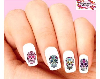 Skull nail art etsy waterslide nail decals set of 20 colorful day of the dead sugar skulls assorted prinsesfo Choice Image