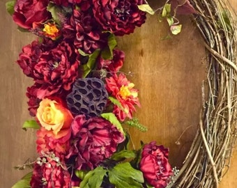 """Tuscan Wreath Fall Wreath Silk Floral OVAL Wreath Red & Orange Extra Large 22"""" x 34"""" Elegant Indoor Outdoor"""
