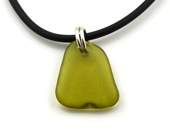 Peridot Sea Glass Necklace On Rubber Necklace