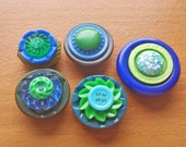 Stacked Button Magnets, 5 Green and Blue Magnets with Vintage Buttons, for Magnet Boards and Refrigerators