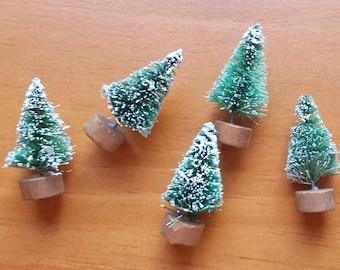 Green Mini Bottle Brush Trees, Set of 5 Sisal Trees, Vintage Style Miniatures