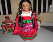 "RESERVED CUSTOM ORDER  Mexican folklorico China Poblana dress for 18"" dolls like American Girl"