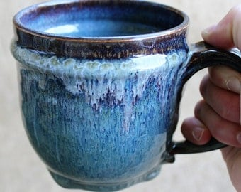 Large pottery mug, wheel thrown, stoneware, 20 oz coffee mug,made to order