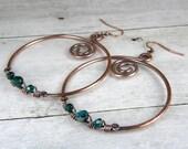 Large Copper Hoop Earrings, Green Glass Earrings, Antiqued Copper Wire Wrapped Earrings, Handmade In USA