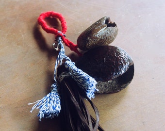 Nautical Keyfob | Bali seeds, anchor, leather