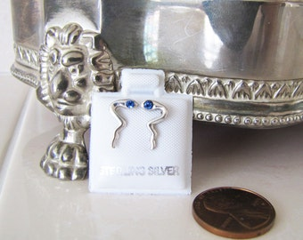 Snake Sterling Silver Stud Earrings with Blue topaz CZ eyes