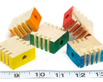 10 Pack - Small Groovy Wood Foraging Blocks for Bird Toys, Parrots, Chinchillas Guinea Pigs Rabbits Small Animal Chews