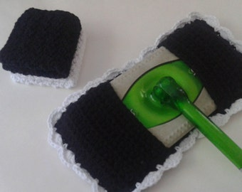 Reusable Cotton Swiffer Mop/Broom Cover Kitchen Kit With 2 Washcloths