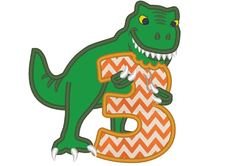 T-rex dinosaur Birthday number three 3 machine embroidery ...