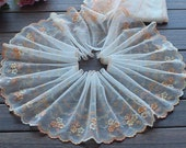 2 Yards Lace Trim Floral Embroidered Light Yellow Tulle Lace 7.48 Inches Wide High Quality