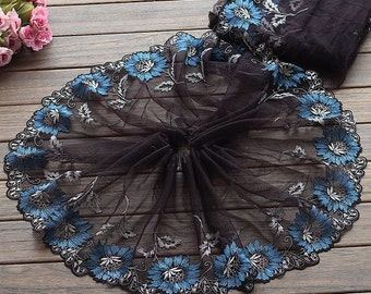2 Yards Lace Trim Exquisite Blue Flowers Embroidered Black Tulle Lace 9 Inches Wide High Quality