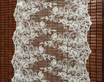 Ivory Alencon Lace Fabric Floral Wedding Lace Fabric Dress Coat Fabric 17 Inches Wide 1 Yard