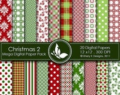 50% Off Christmas Mega Paper Pack 2 - 20 Printable Digital papers - 12 x12 - 300 DPI  ////02