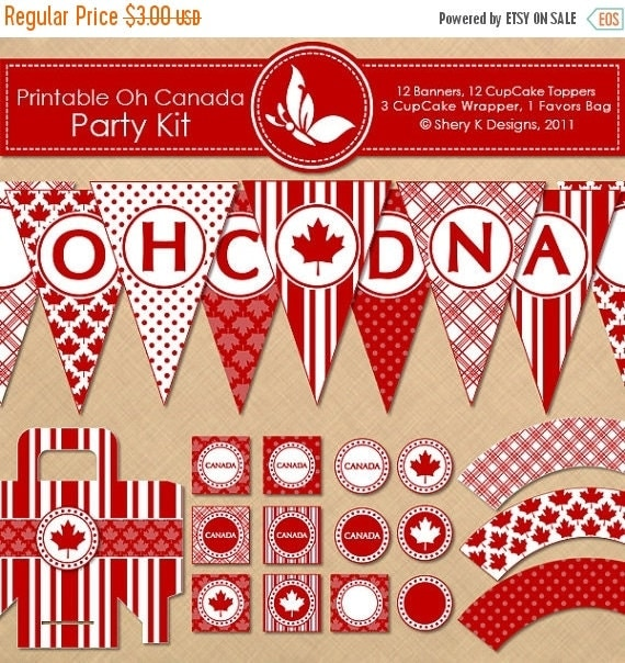 40% off Printable OH CANADA Party Kit - 12 banners - 12 cupcake toppers - 3 cupcake wrappers - 1 favors bag and 1 font - 300 DPI