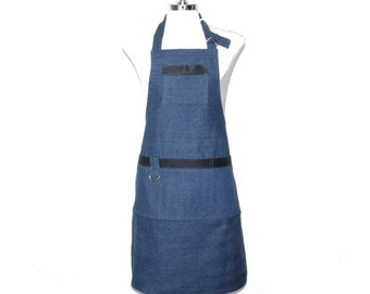 Blue Denim Man's Full Apron with Leather Tape Embellishment A-169