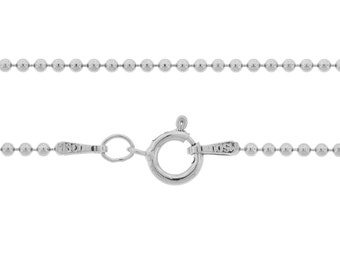 Ball Chain with clasp Sterling Silver 1.5mm 20 Inch  - 5pcs Neck chain (3098)/5