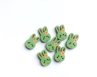 7 Green Rabbit Wooden Buttons, 25mm
