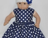 Handmade Dark Blue White Polka Dot Print Dress and White Crocheted Hat and Flower Fits American Girl Bitty Baby and Twins