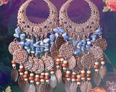 """5"""" Long Sodalite Blue Gemstone Chandelier Earrings, Bohemian Gypsy Soul Jewelry, Large Copper Hoop Earrings, Rustic, Hippie, Denim Blue"""