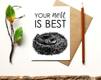 Your Nest is Best - Mother's Day Card - Cute Mothers Day Card - Mama For Mom - Thank you mom I love you mom - animal mother's day robin nest