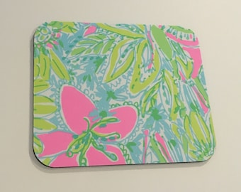 Mouse Pad  made with Lilly Pulitzer Signature Fabric Coconut Jungle