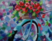 Original Oil BIKE-BASKET'S-FULL, Original Oil Painting, flowers, cycle, bike basket, roses, signed by the artist