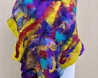 SALE - Beautiful shawl, felted scarf, silk, wool, nuno, felted, gift, fibre art, yellow, purple, pink, turquoise