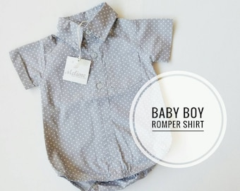 Baby Boy Shirt Bodysuit, Gray Polka dots onesie shirt for little boy, Paper sugar dots baby boy outfit