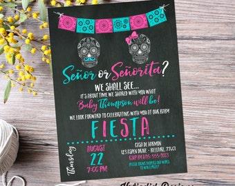 gender reveal fiesta invitation gender neutral mexican sugar skull senor senorita baby shower sprinkle Papel Picado cinco de mayo item 1461