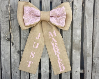 Just married getaway car bow
