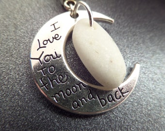 I love you to the moon and back Scottish Iona Marble Necklace from Scotland, Protection Jewelry