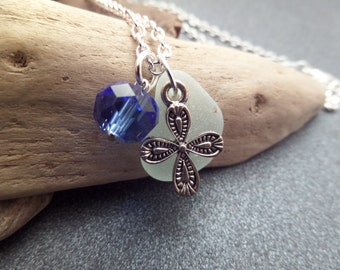 Scottish Sea Glass Necklace with Cross and White Beach Glass, Christian Jewelry