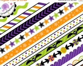40% OFF SALE Halloween Digital Ribbons - Digital Clip Art - Instant Download - Commercial Use