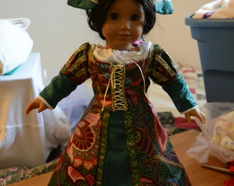 Renaissance  style skirt quilted petticoat blouse over blouse hat forest green gems gold royal look one of a kind