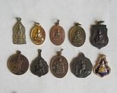 10 Thai Buddhist Buddha Buddhism Lucky Charms Pendants Set Blessed Brass Medallions