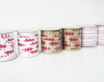 White Christmas Ribbon 3 mt - Red Christmas Trees - For Scrapbooking, Christmas Cards and Gift Wrap - Rustic Ribbon - Shabby Christmas