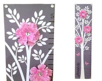 Modern Pink Grey Nursery Tree Flower Canvas  Growth Chart Children Baby Personalized