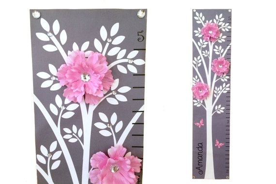 Modern Pink Grey Nursery Tree Flower Canvas  Growth Chart Children Baby Personalized